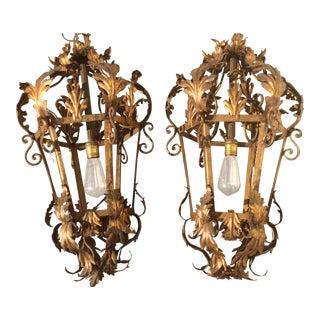 Vintage Italian Gilt Metal Lanterns - A Pair