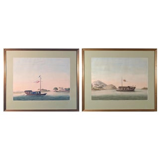 Chinese Export Watercolors of Chinese Sampans on European Paper, circa 1800