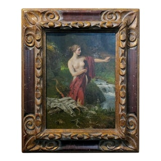 Diana the Huntress Bathing -19th century oil painting oil painting on board -signed