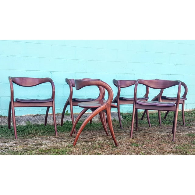 Vintage Solid Curved Cherry Wood Dining Chairs - Set of 6 - Image 2 of 9