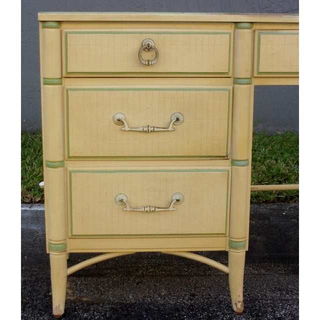 Image of Mid-Century Faux Bamboo Cream Desk