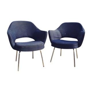 Blue Saarinen Knoll Chairs - Pair
