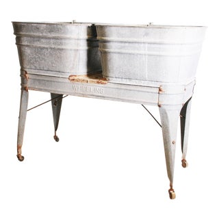 Vintage Wheeling Country Galvanized Double Basin Wash Tub with Stand