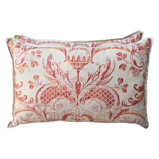 Coral And Cream Fortuny Pillows - Pair