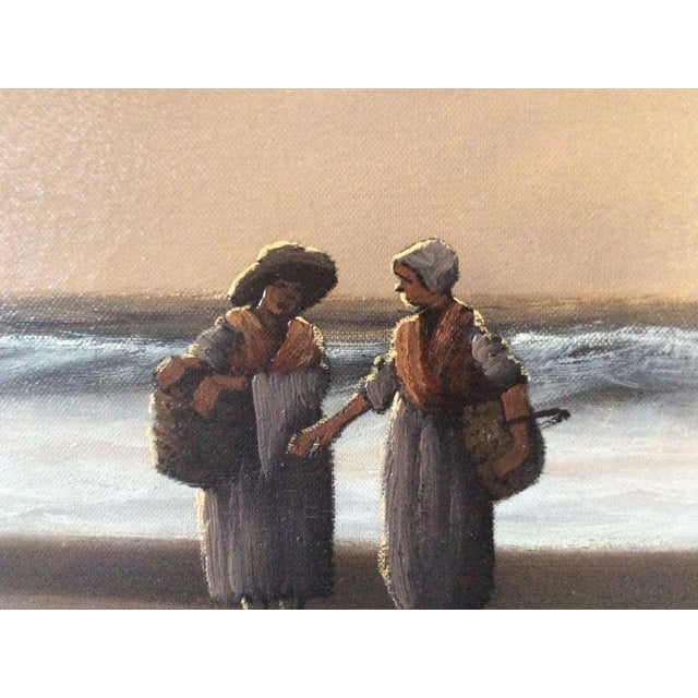 """Mid-Century Marteen """"Breton Fisher Folk"""" French Oil Painting - Image 7 of 11"""
