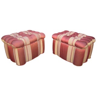 Striped Tufted Storage Ottomans, Pair