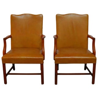 Pair of Chippendale Leather Library Chairs