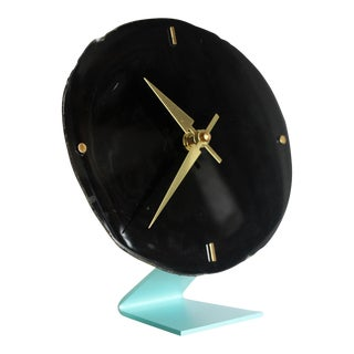 Agate Slice Black Desk Clock