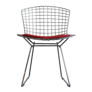Bertoia Wireframe Chair With Red Seat Pad