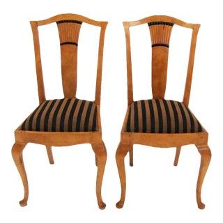 1920s Swedish Birch Side Chairs - Pair