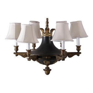 Black Six-Arm Tole Chandelier
