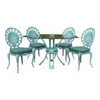Venetian Turqouise Shell Back Grotto Table and Chairs