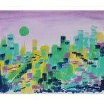 """Image of """"Green Cheese Moon"""" Painting by Cleo"""