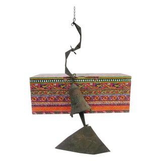 Modernist Soleri Bell W Box Bronze Brutalist Wind