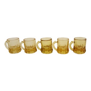Set Of 5 Federal Amber Shot Glasses