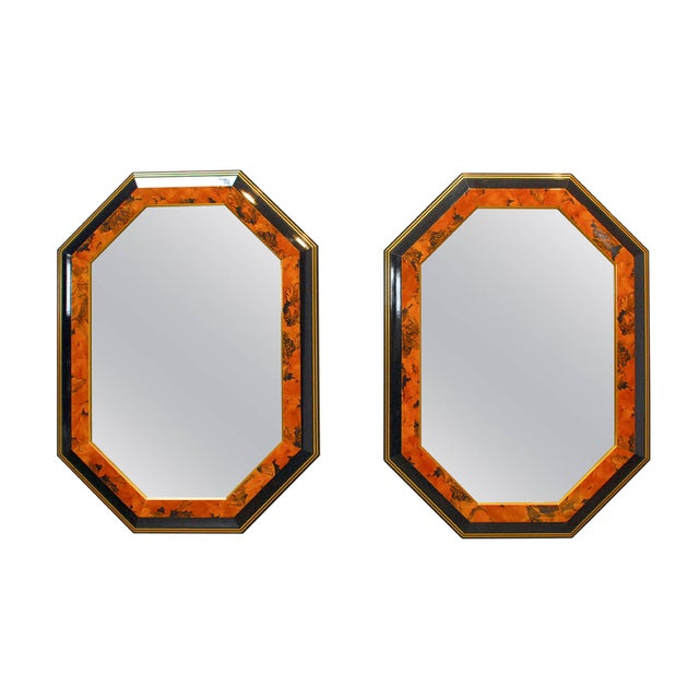 Black Lacquer Octagonal Mirrors by Dolbi - A Pair - Image 1 of 5