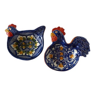 Handcrafted Ceramic Rooster & Hen Bowls - A Pair