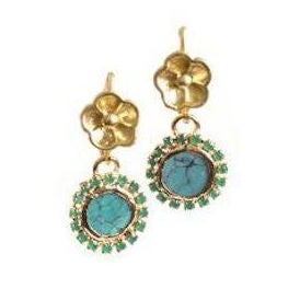 Turquoise and Green Rhinestone Hibiscus Earrings