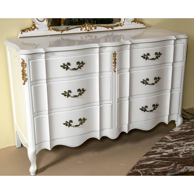 white and gilt paint decorated double commode chairish. Black Bedroom Furniture Sets. Home Design Ideas