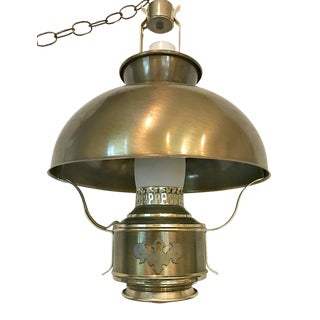 Vintage Polished Brass Oil-Kerosene Hanging Lantern Light