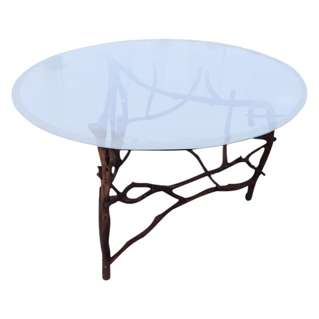 Rift Wood and Glass Round Dining Table - Image 1 of 5