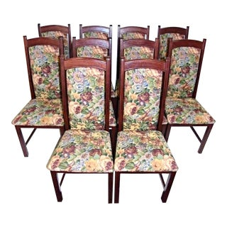 Accent Vintage Tapestry Upholstered Side Dining Chairs - Set of 10