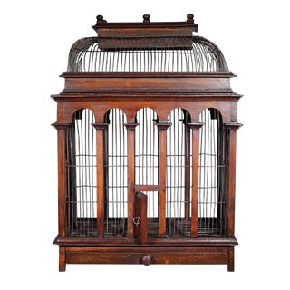Victorian Wood and Wire Dome Top Birdcage