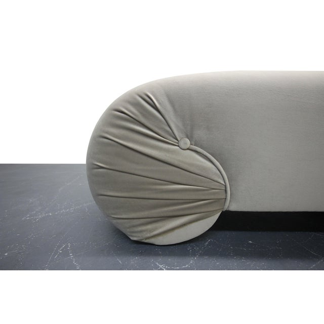 Vintage 1970s Regency Style Curved Shell Shape Velvet Bench - Image 4 of 5