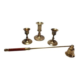Vintage Brass & Wood Candle Snuffer & Brass Candle Holders - Set of 4