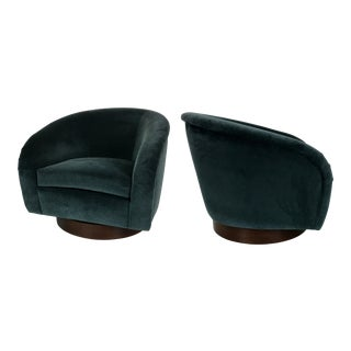 Pair of Velvet Swivel Chairs on Walnut bases by Milo Baughman