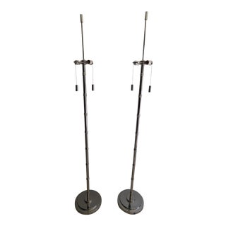 Hollywood Regency Faux Bamboo Floor Lamps - A Pair