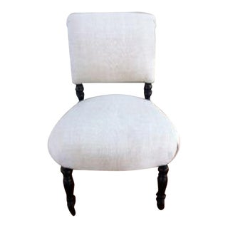 19th Century French Napoleon III Upholstered Slipper Chair, France