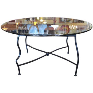 Mid-Century Bronze Base Dining Table With Glass Top