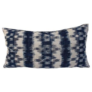 French Blue & White Ikat Pillow