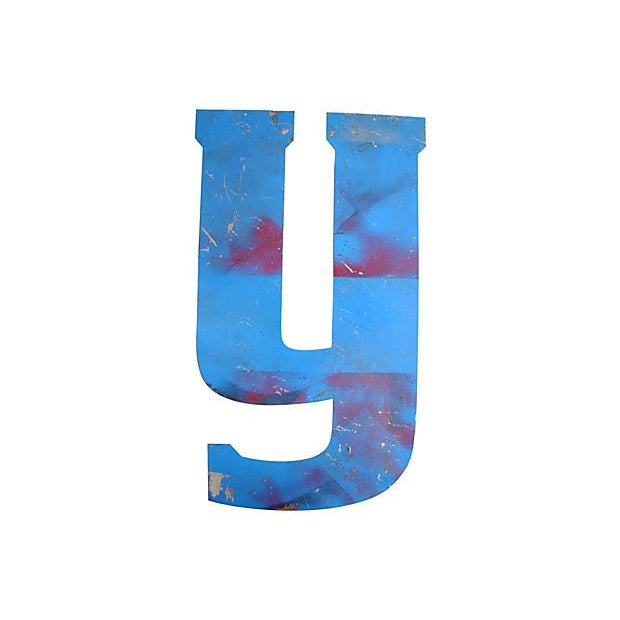 Image of Large Blue Metal Marquee Letter Y