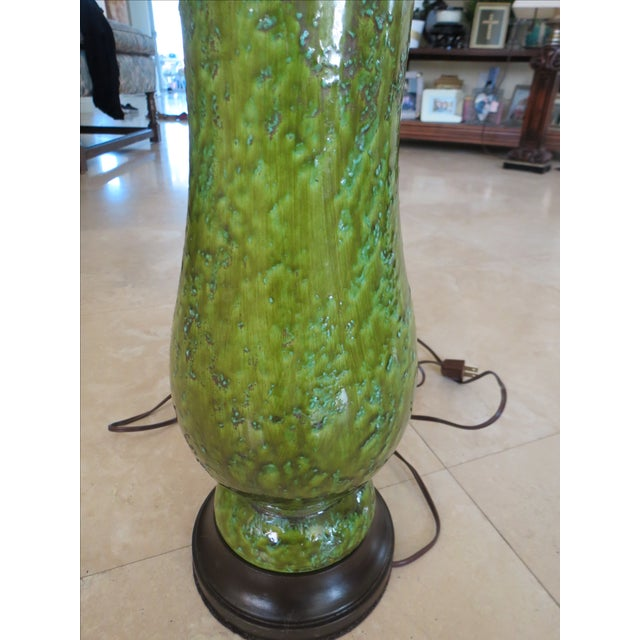 Vintage Green Ceramic Table Lamp - Image 4 of 6