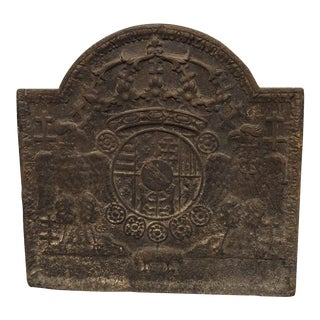 Early 1800s Heraldic Cast Iron Fireback from France