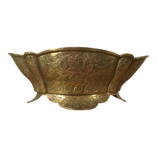 Vintage Etched Brass Footed Bowl
