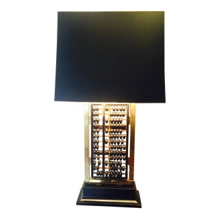 Brass & Teakwood Abacus Lamp