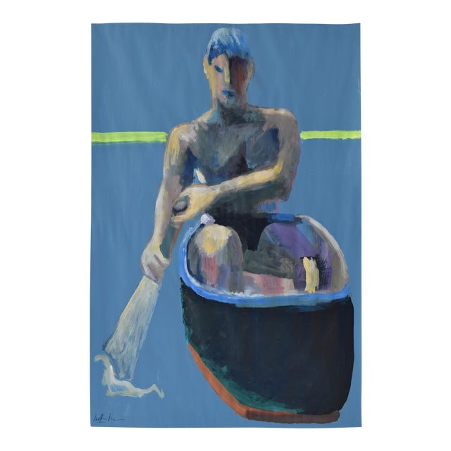 Acrylic Painting Boy in a Rowboat - Image 1 of 7