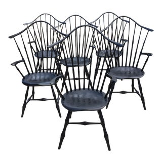 Fanback Black Bamboo Windsor Chairs - Set of 6