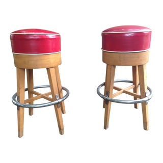 Vintage Thonet-Style Red Vinyl Bar Stools - A Pair