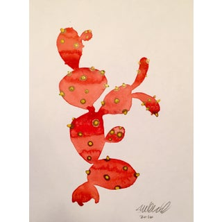Red Cactus Contemporary Watercolor Painting