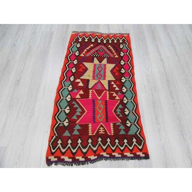 Vintage Turkish Kilim Small Vibrant Rug