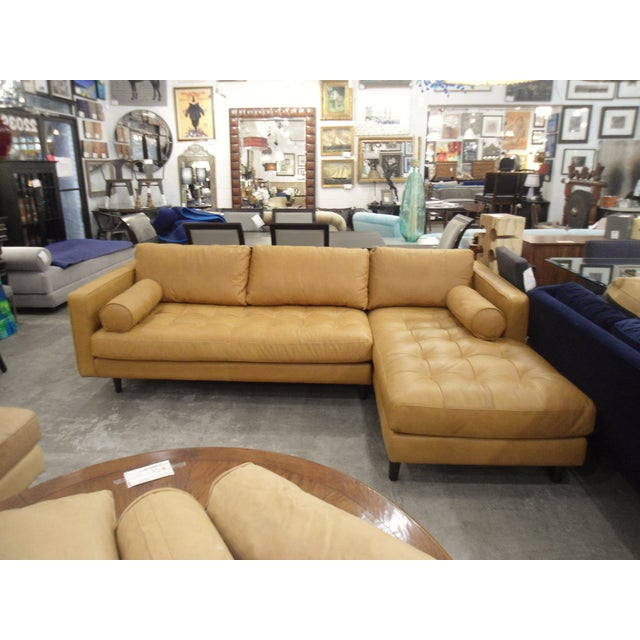Tan Leather Sectional Sofa, Right Chaise, Tufted Seating - Image 8 of 8