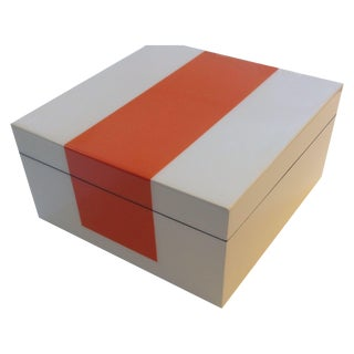 "Lacquer Box in Orange & White 10"" x 10"""