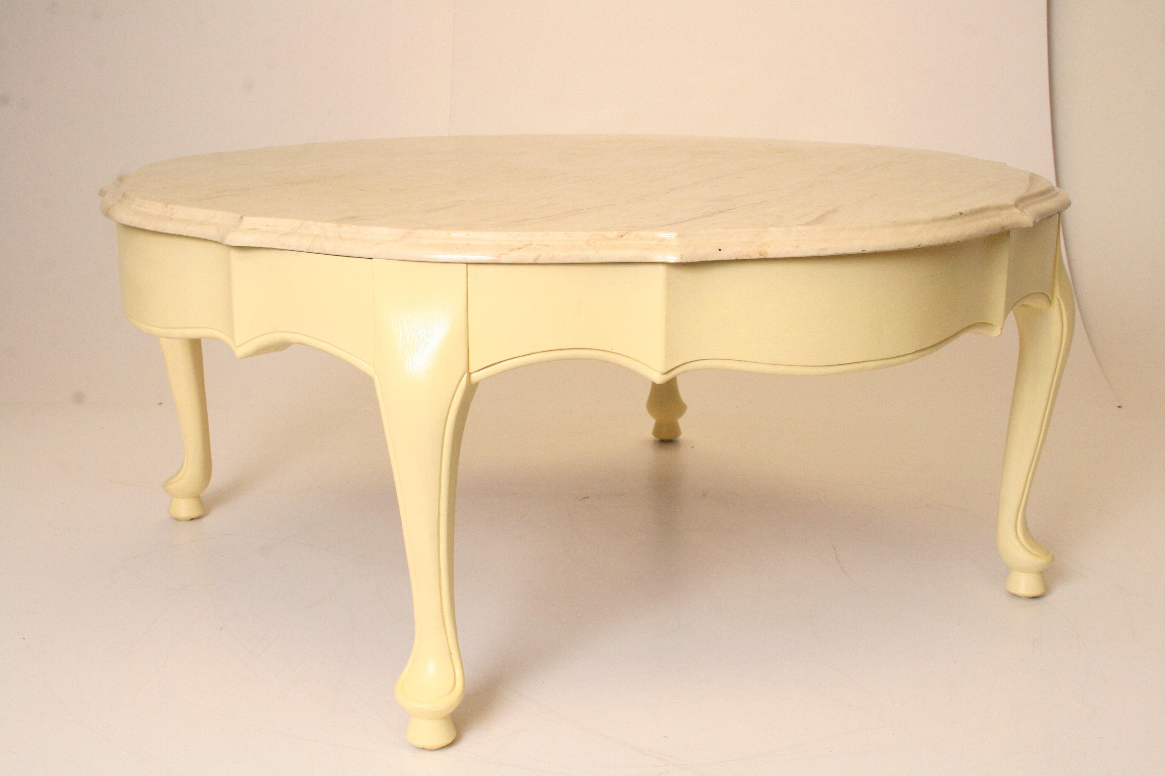 Vintage French Provincial Marble Top Round Coffee Table   Image 2 Of 11