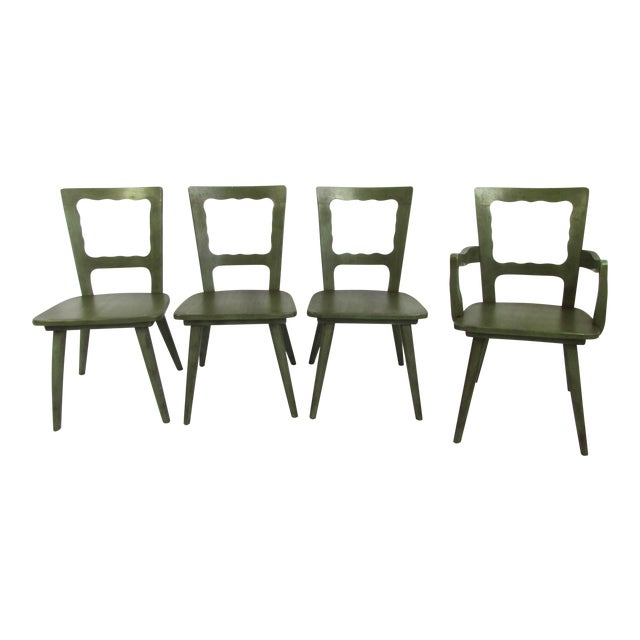 mid century green wooden dining chairs set of 4 chairish