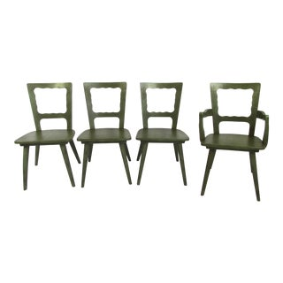 Mid-Century Green Wooden Dining Chairs - Set of 4