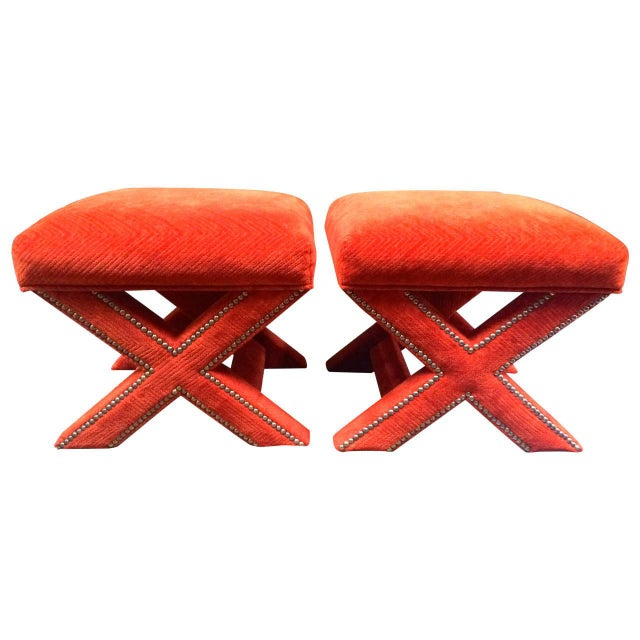 Orange Velvet X-Leg Ottomans - Pair - Image 1 of 2